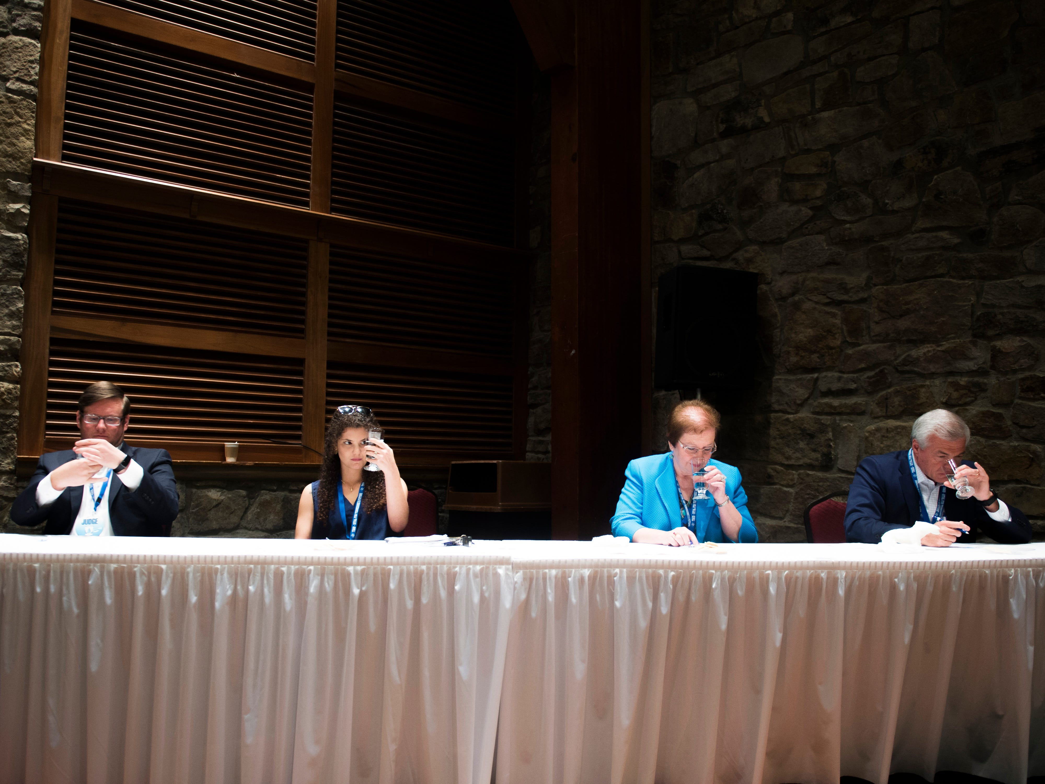 Four judges, including the News Sentinel's Brittany Crocker, judged tap water from across the state at Tennessee's Best Tasting Water Contest held on Thursday, August 9, 2018, during the Tennessee Association of Utility Districts' business conference held at the Gatlinburg Convention Center.