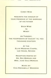 Invitation to Buck and Mindy's wedding