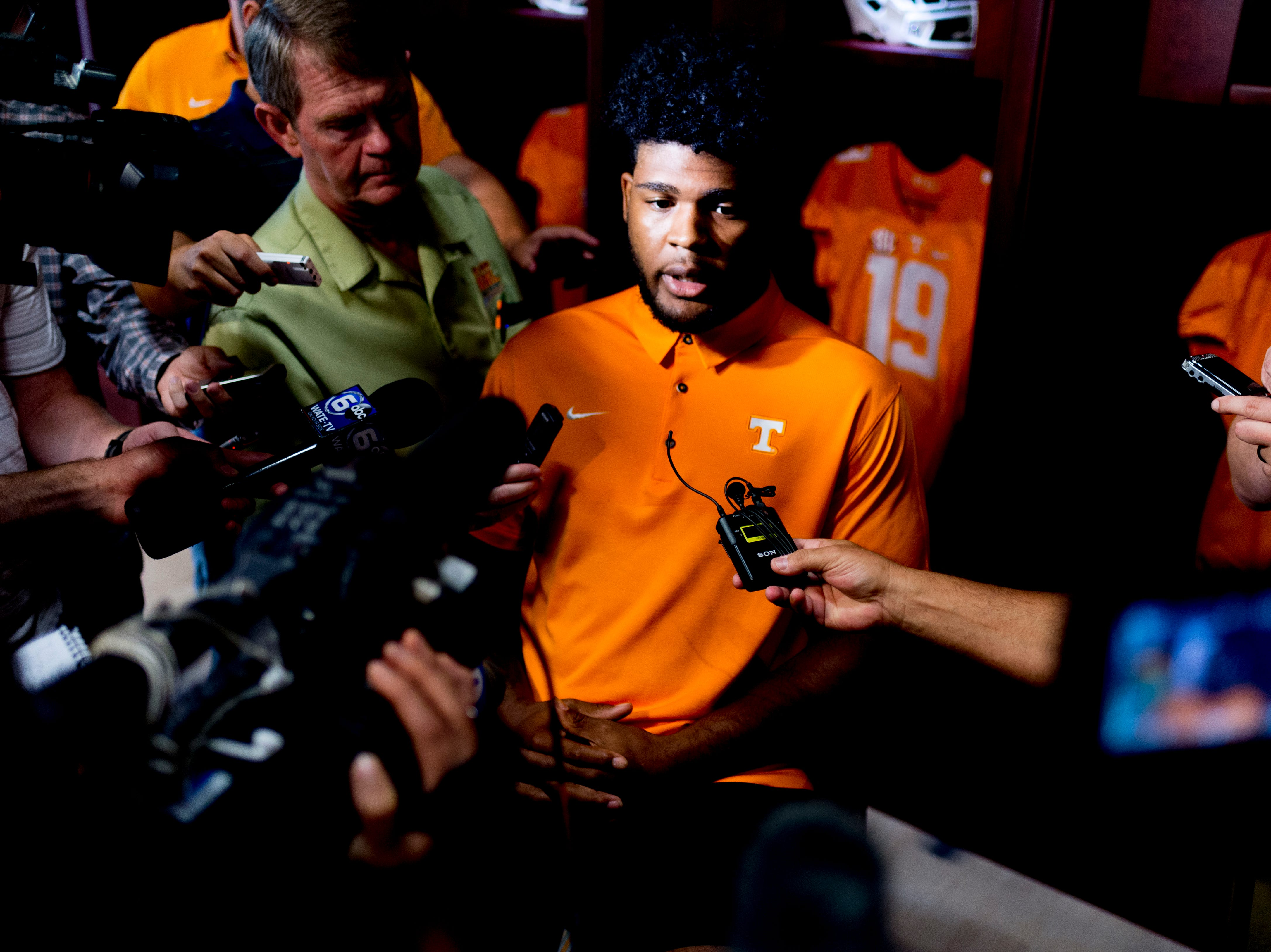 Tennessee linebacker Darrin Kirkland Jr. (34) speaks during a press conference at the Roy & Lucy Hand Digital Studio in Knoxville, Tennessee on Thursday, August 9, 2018.