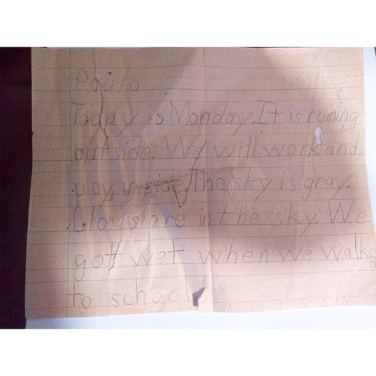 A picture of Paula Dyer's homework assignment the day she died.