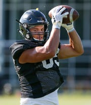 Tight end Brycen Hopkins with a catch during Purdue football practice Thursday, August 9, 2018, in West Lafayette.