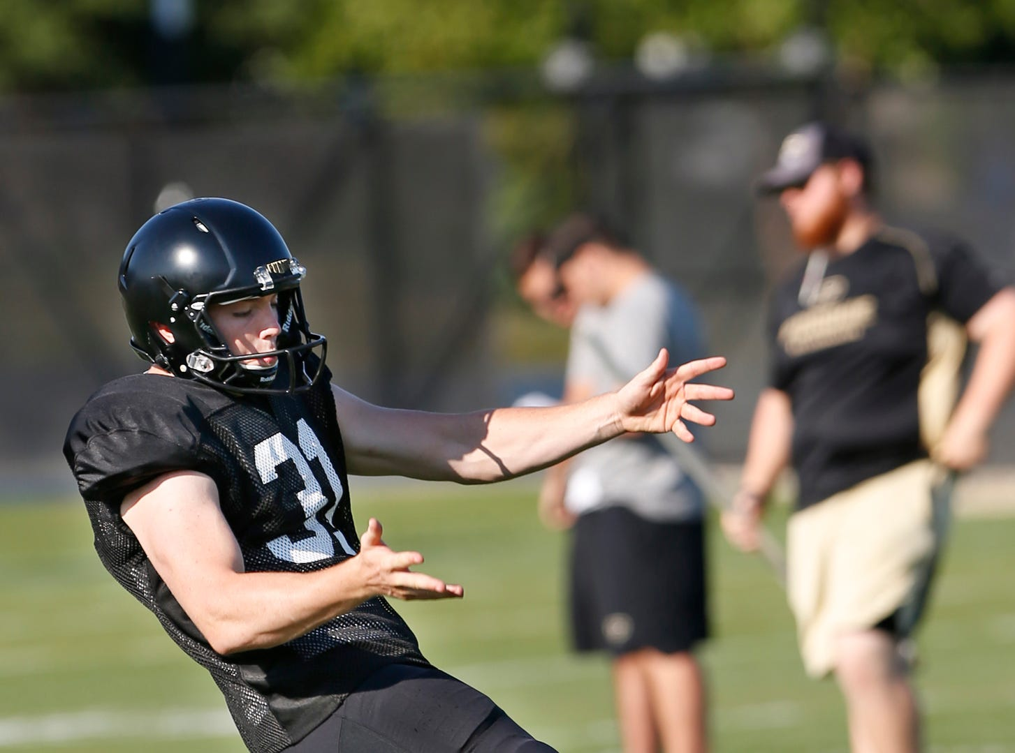 Punter Joe Schopper during Purdue football practice Thursday, August 9, 2018, in West Lafayette.