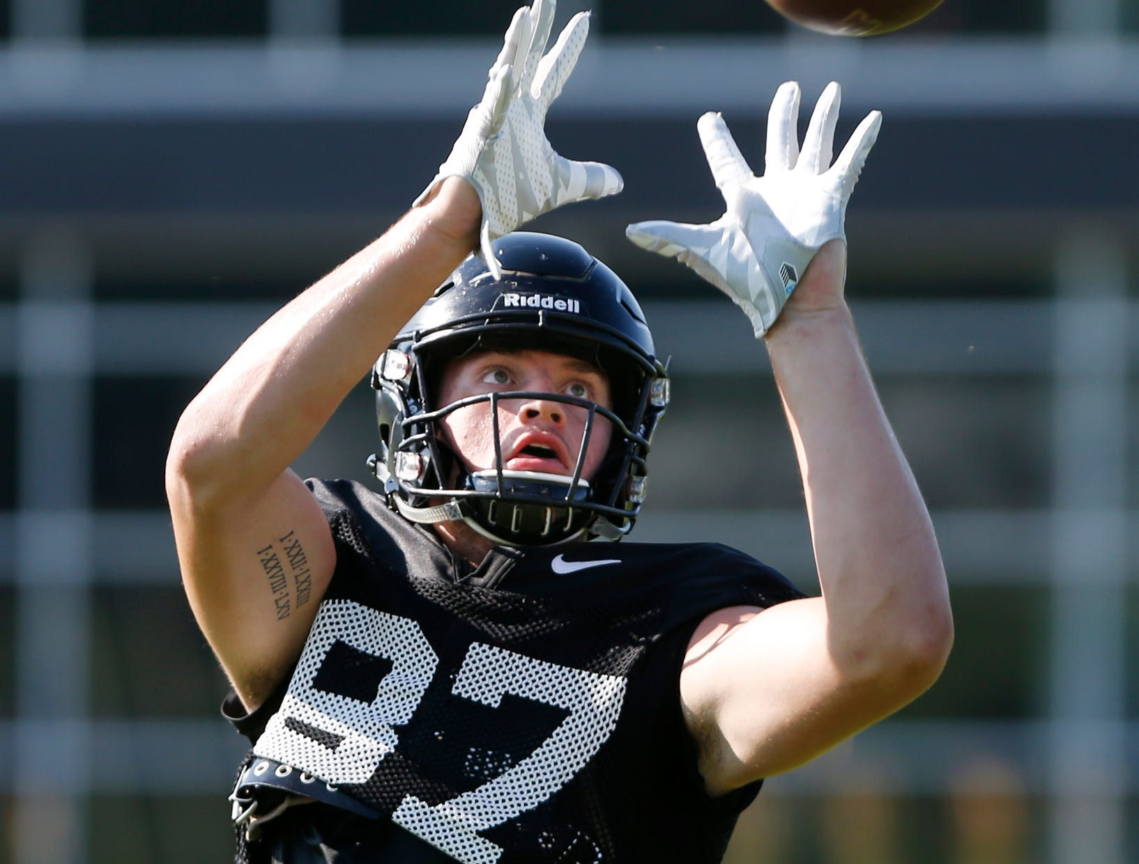 Tight end Payne Durham with a catch during Purdue football practice Thursday, August 9, 2018, in West Lafayette.