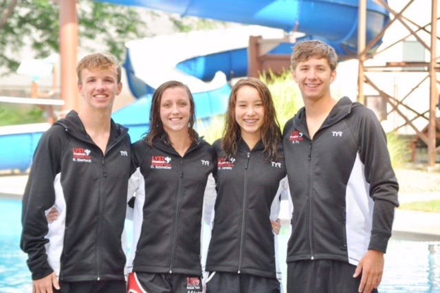 The Lancaster YMCA swim team competed in the YMCA National Long Course National Championship meet at the University of Maryland last week. Those competing were, from left to right: Nathan Eberhardt, Olivia Schmelzer, Mia Hensley and Blake Fry. Schmelzer won a national title in the 100 freestyle.