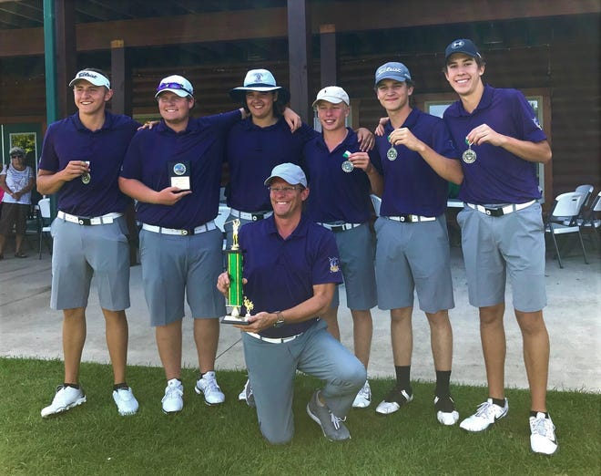 Coach Greg Smith and his Lexington Minutemen, winners by 18 strokes of the Colt Classic at Deer Ridge.