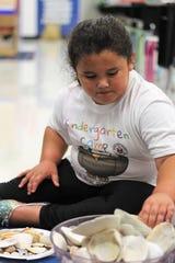 Incoming Marion City kindergartner Zoey Craft, 5, counts seashells inside Jonda Anthelm's classroom on Wednesday.