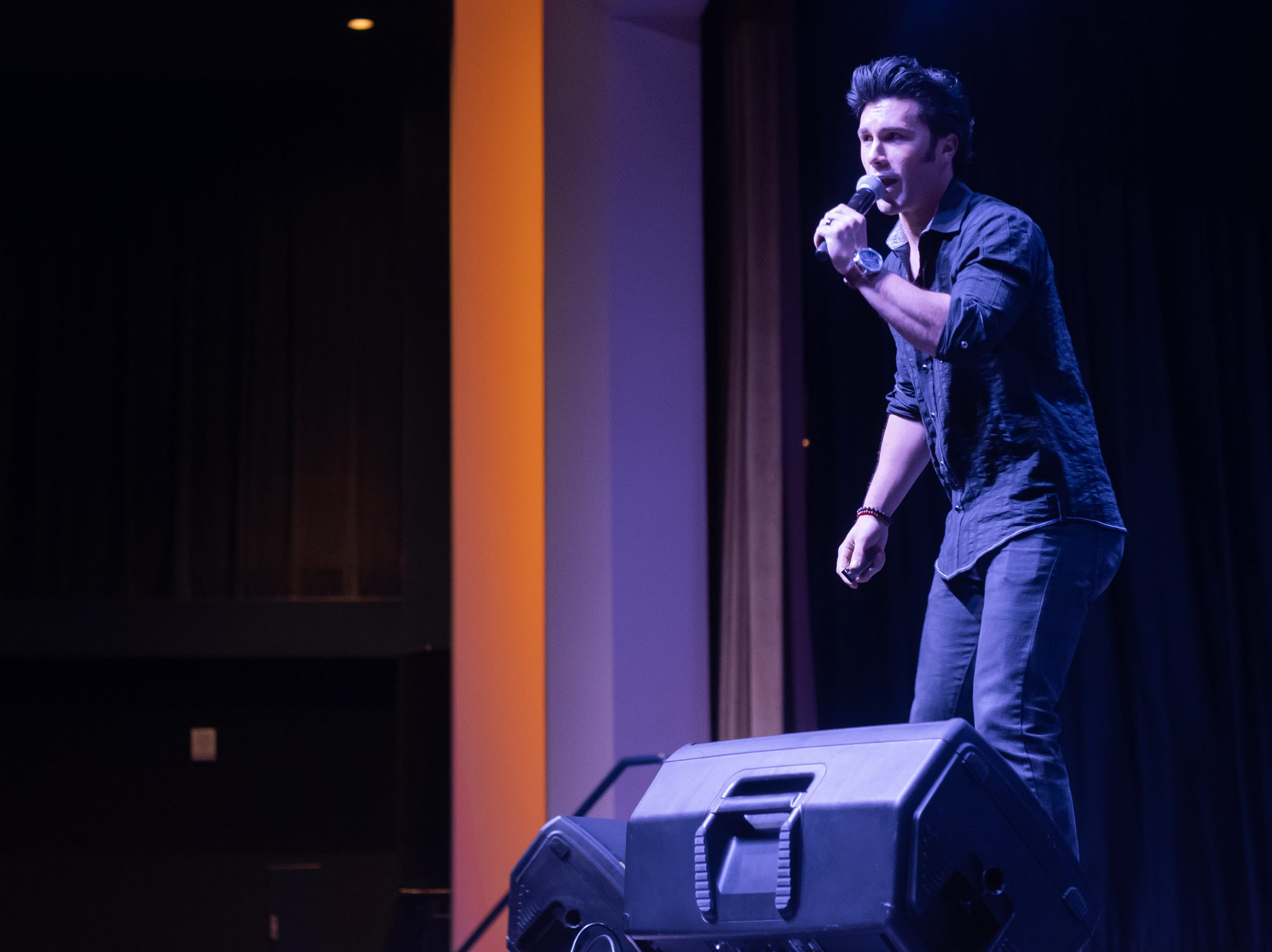 "Brycen Katolinsky sings ""Stay Away Joe"" at Graceland's Guest House. Katolinsky won the Ocean City Elvis Festival. These performances kick off Graceland's annual Elvis Week."