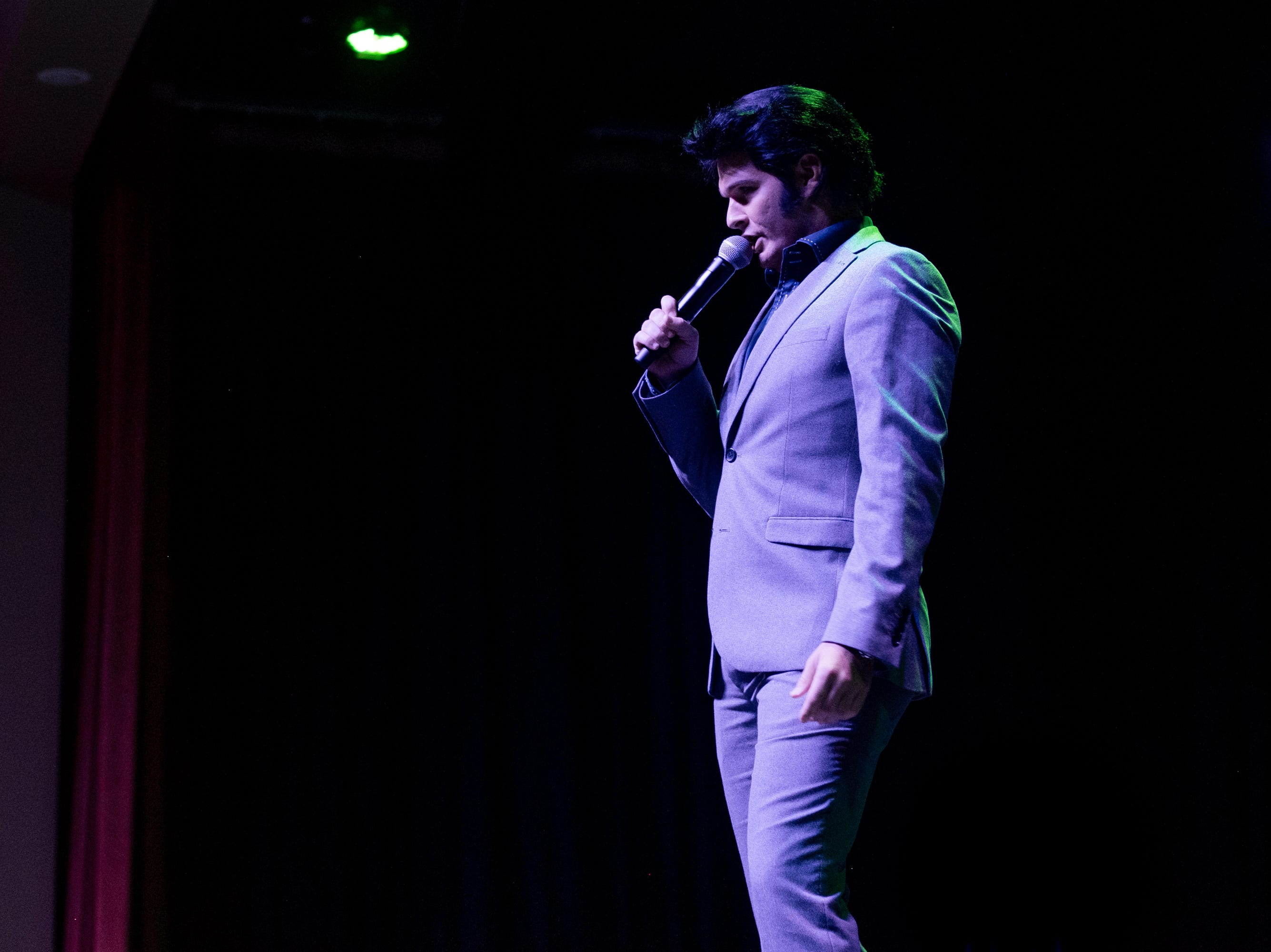 """Ben Thompson, winner of the Hard Rock Last Chance contest, sings """"My Boy"""" in the theater at Graceland's Guest House Thursday afternoon. These performances kick off Graceland's annual Elvis Week."""