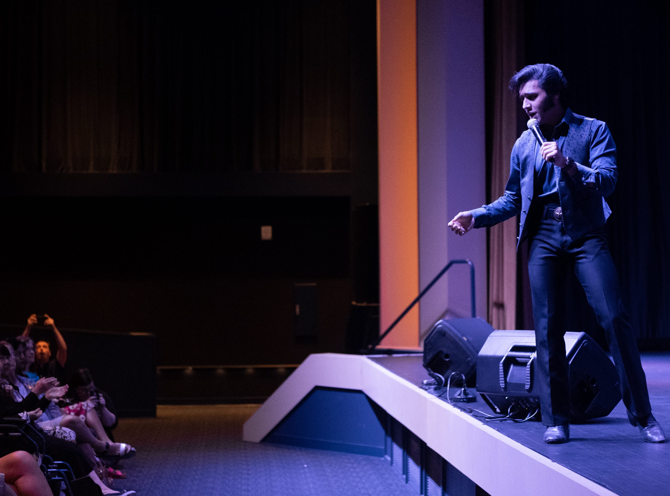 """Cote Daonath sings """"Aint That Loving You Baby"""" at Graceland Thursday afternoon. He won the Branson Elvis Festival."""