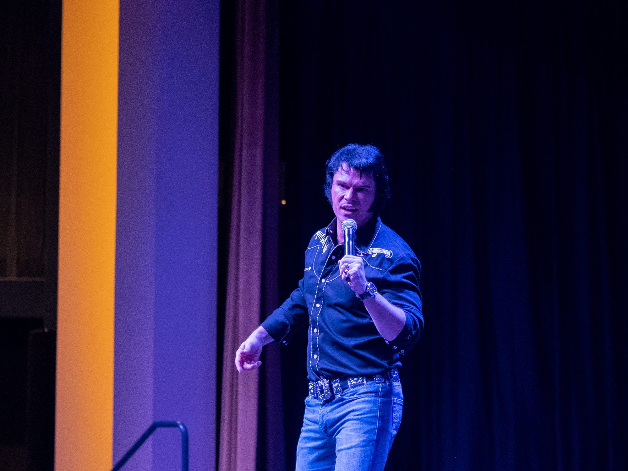 """Diogo Light, who won the Nashville Elvis Festival, sings """"There's a Honky Tonk Angel."""""""