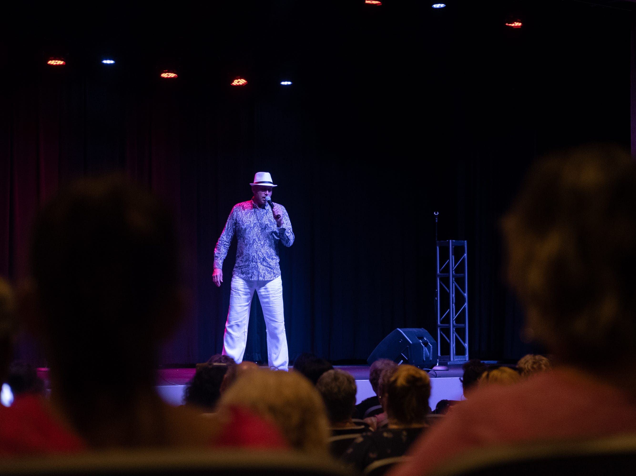 """Sylvain Leduc sings """"In the Ghetto."""" He won the Niagra Falls Elvis Festival in Canada."""