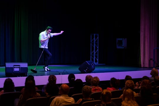 Brody Finlay dances on stage in the Guest House at Graceland.