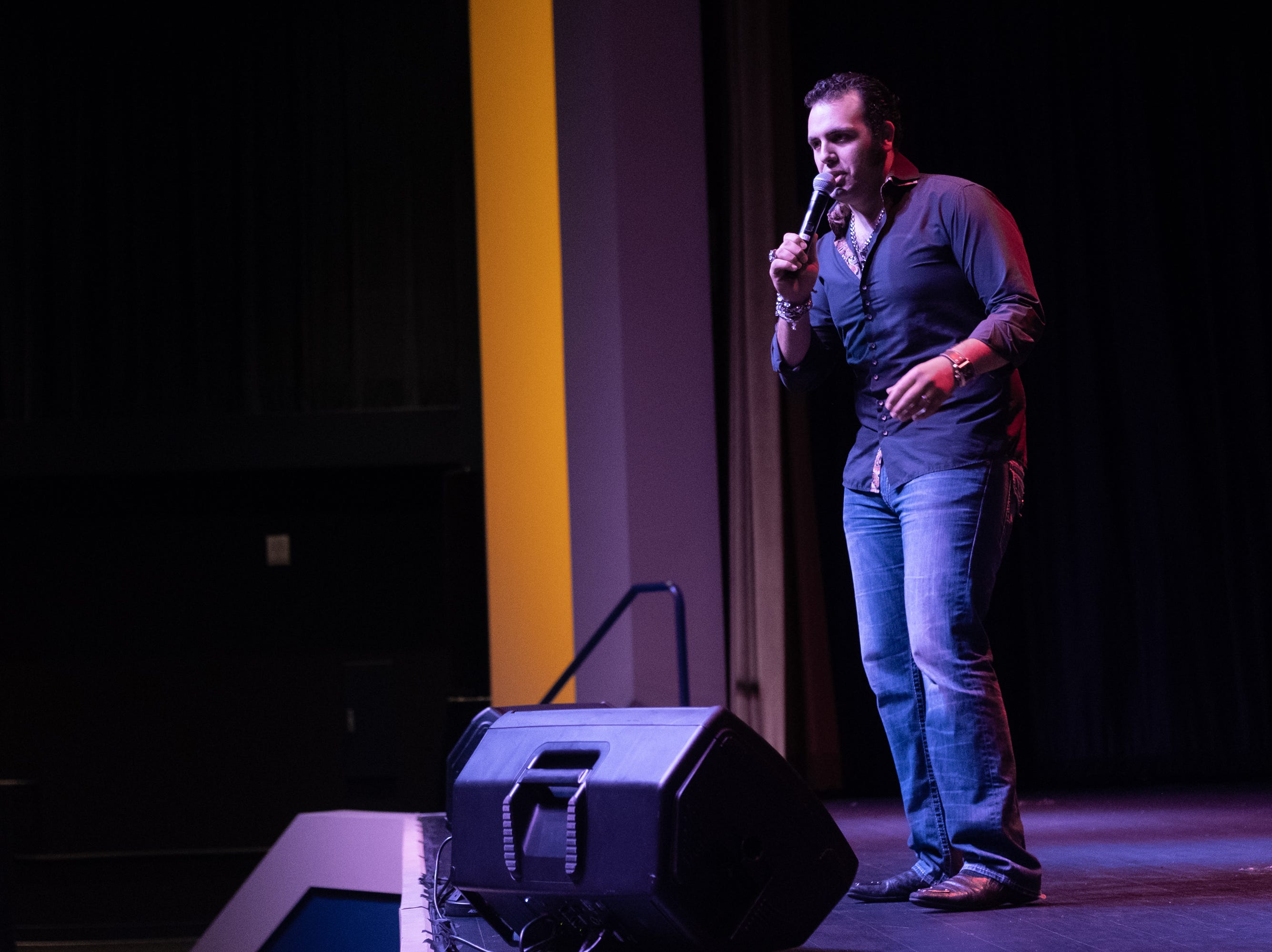 """Bruno Nesdhi, who won Tweed's Tribute to Elvis, performs """"You Don't Have to Say You Love Me."""""""
