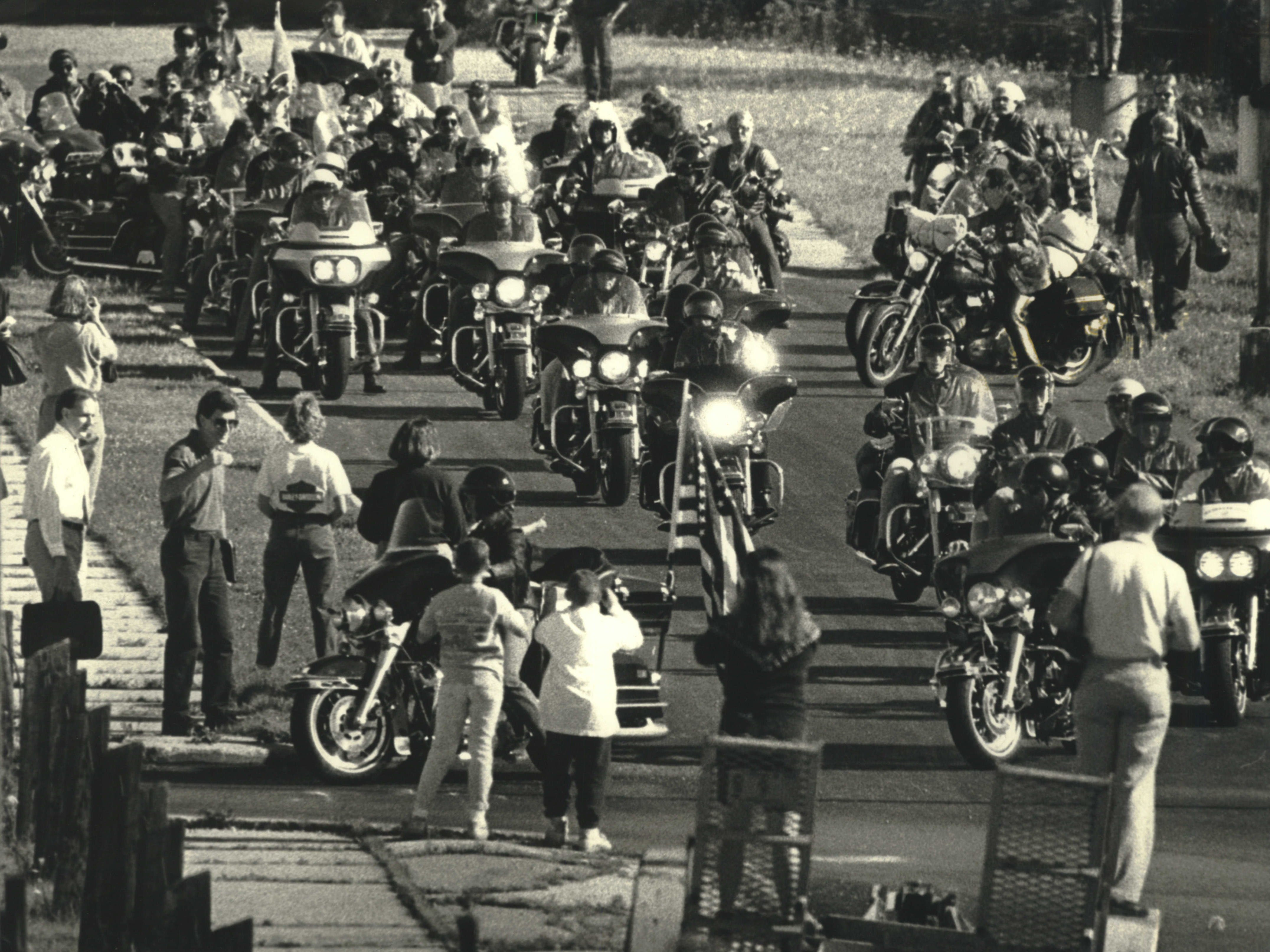 1990: Hundreds of Harley-Davidson riders, including top company officials, gather by the company's engine transmission plant, 11700 W. Capitol Drive, Wauwatosa. The group was heading on a 900-mile ride to the 50th Anniversary Black Hills Motor Classic and National Harley Owners Group Rally in Sturgis, S.D.