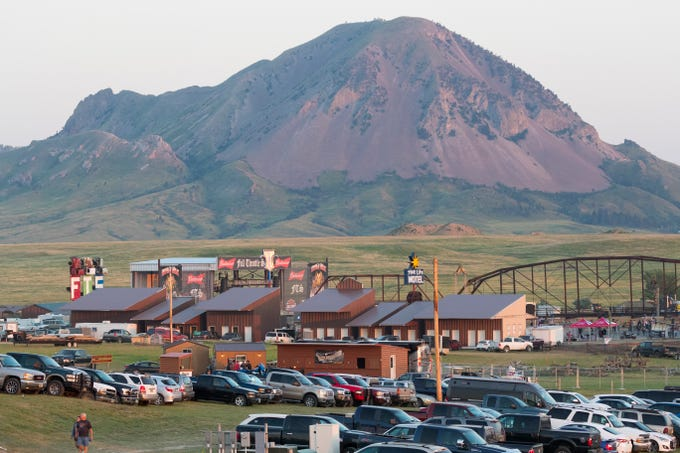 Bear Butte looms in the background of the Pappy Hoel Campground & Resort and Full Throttle Saloon.