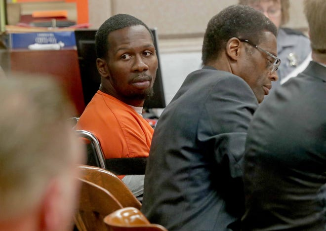 Jonathan Copeland Jr., 30, who is charged in the fatal shooting of Milwaukee Police Officer Michael Michalski, looks to the gallery as he appears in Milwaukee County Circuit Court in August.