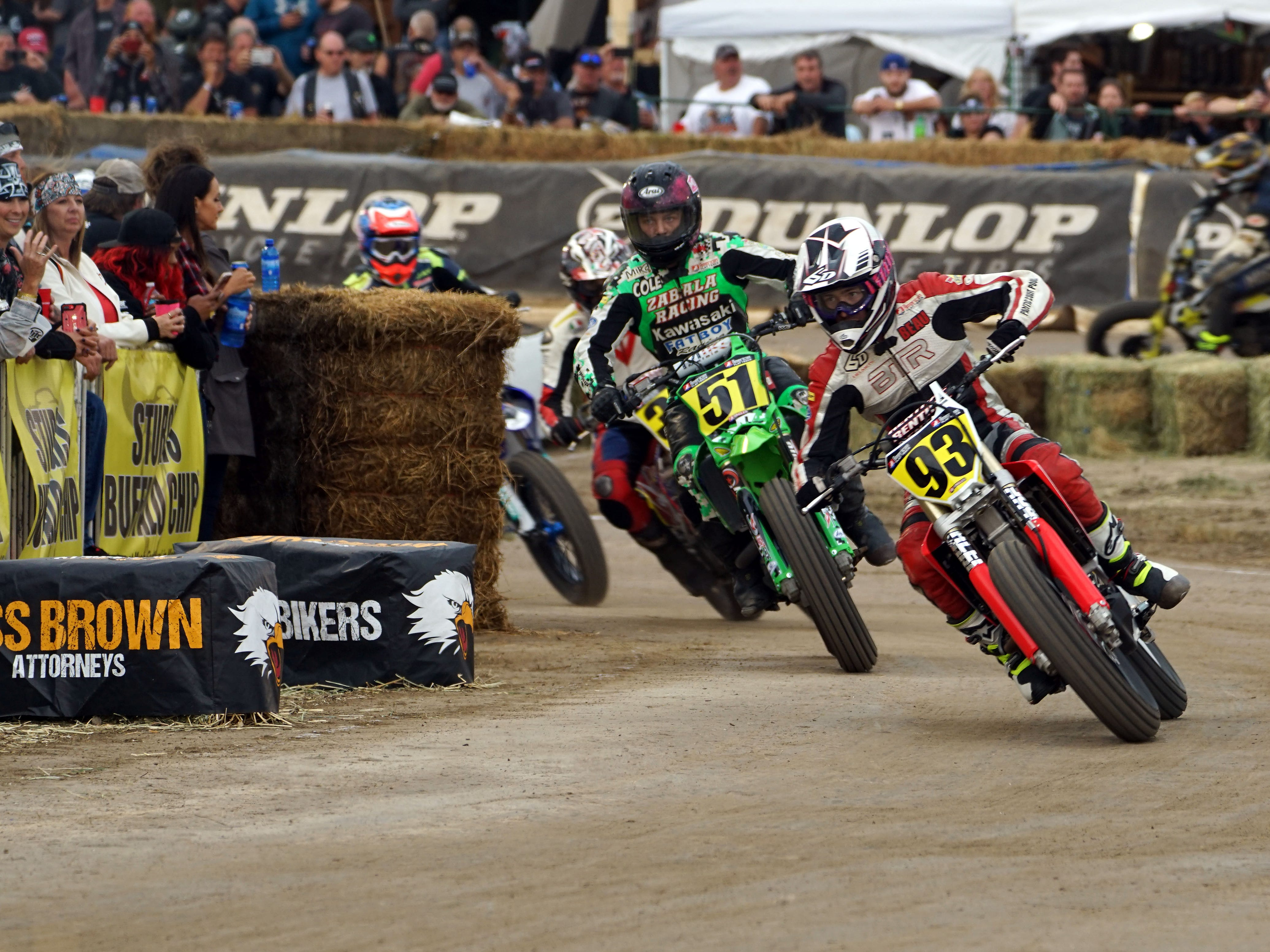 2018: An American Flat Track racer competes during the 2018 Sturgis rally.