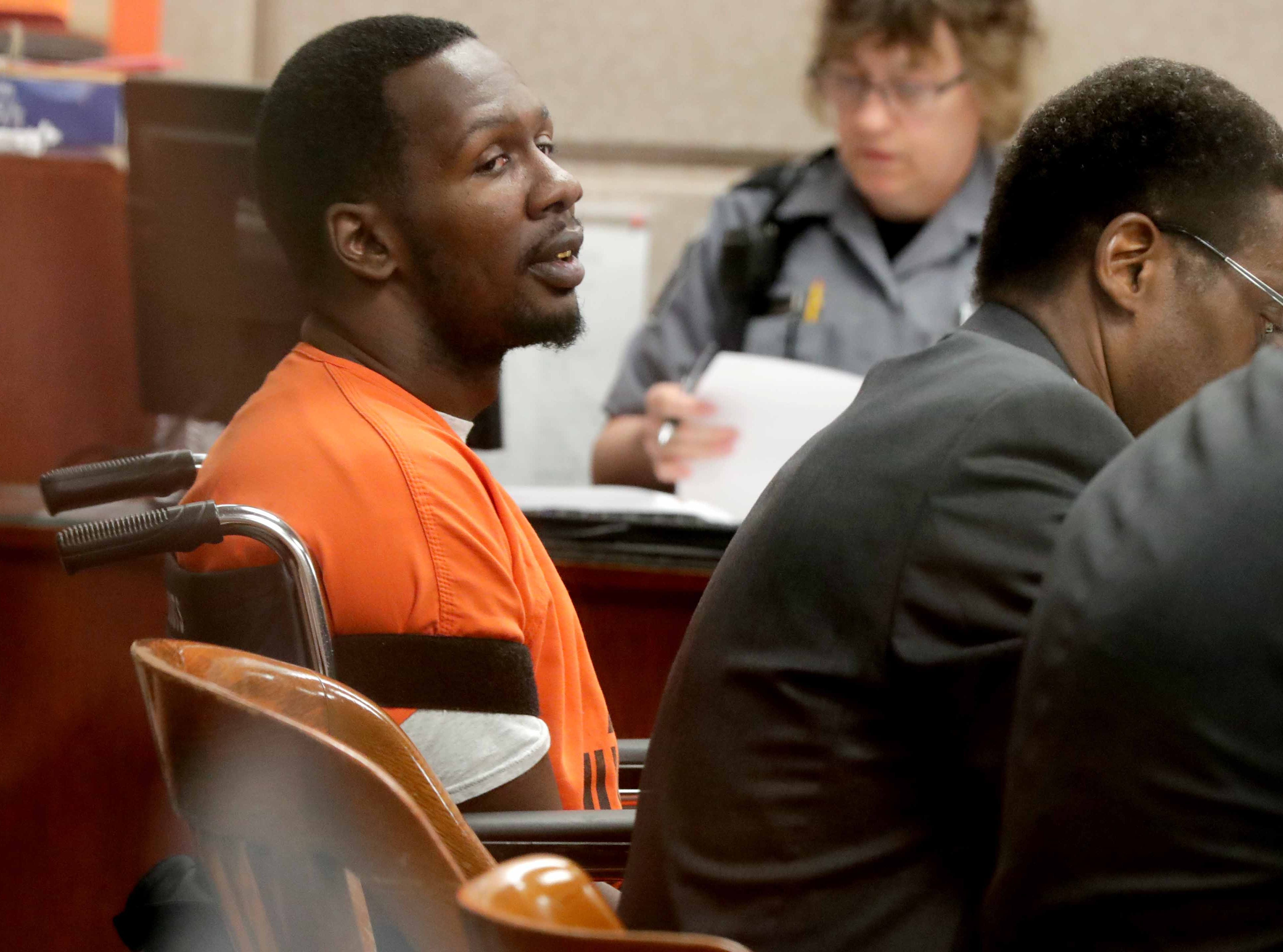 Jonathan Copeland Jr., 30, who is charged in the fatal shooting of Milwaukee Police Officer Michael Michalski, appears in Milwaukee County Court on Thursday.