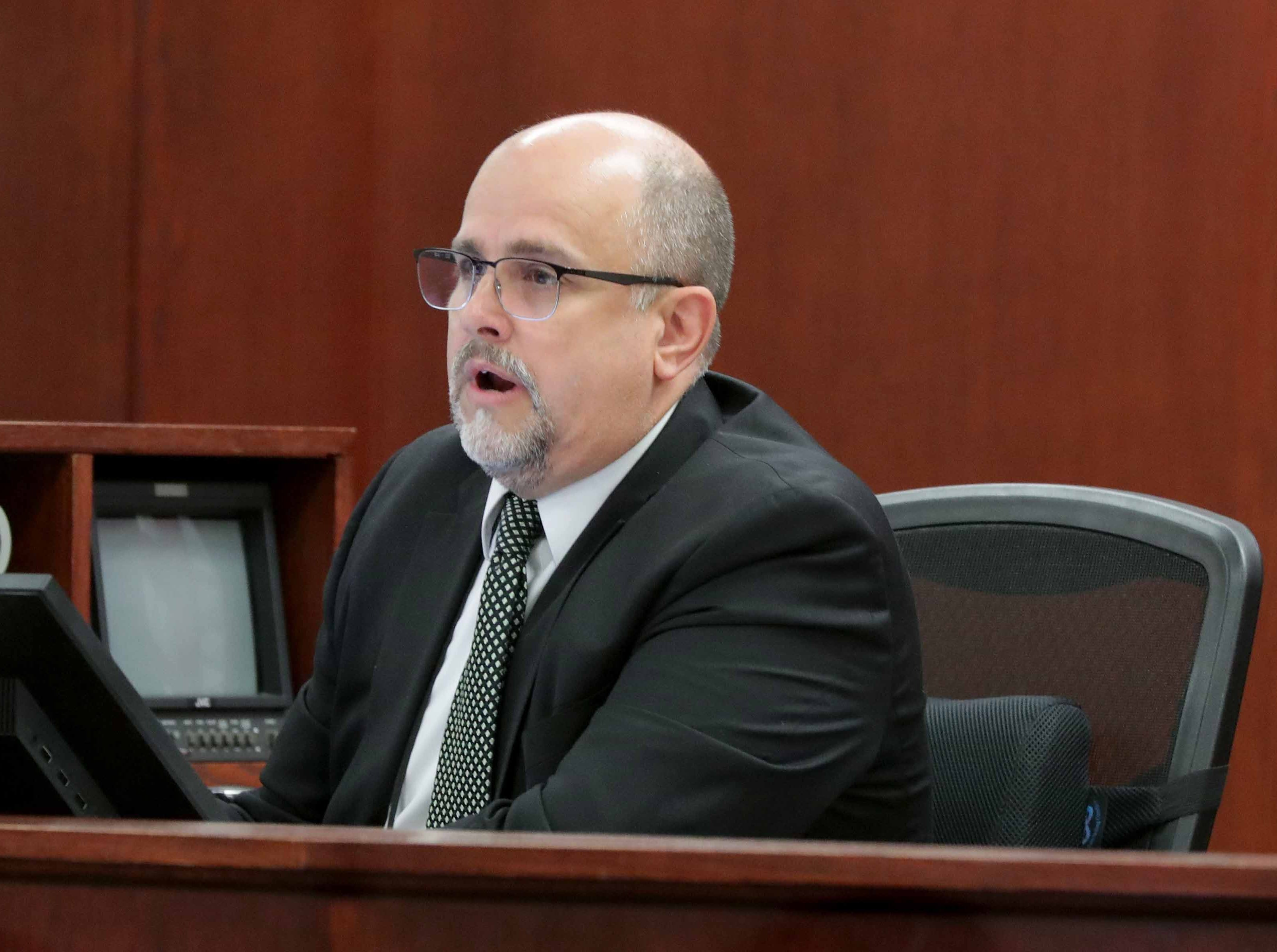 Court Commissioner J.C. Moore presides as Jonathan Copeland Jr., 30, who is charged in the fatal shooting of Milwaukee Police Officer Michael Michalski, appears in Milwaukee County Court on Thursday.