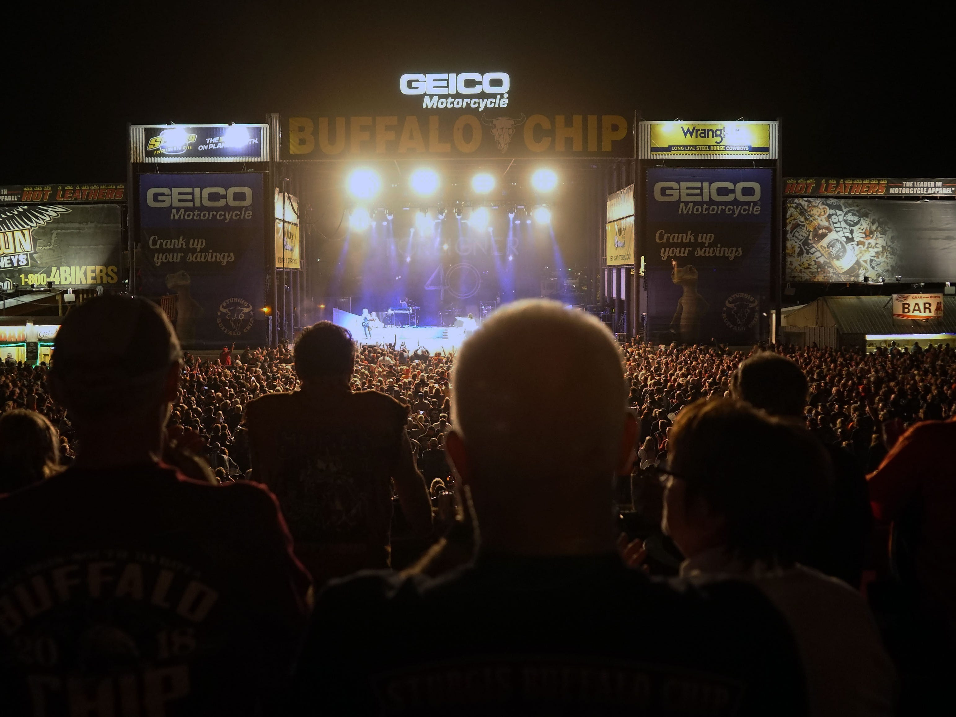 2018: Thousands of concert-goers listen to Foreigner at the Buffalo Chip campground and concert venue.
