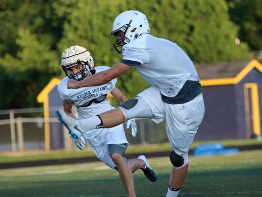 Kettle Moraine kicker Blake Wilcox tees off at a practice on August 6.