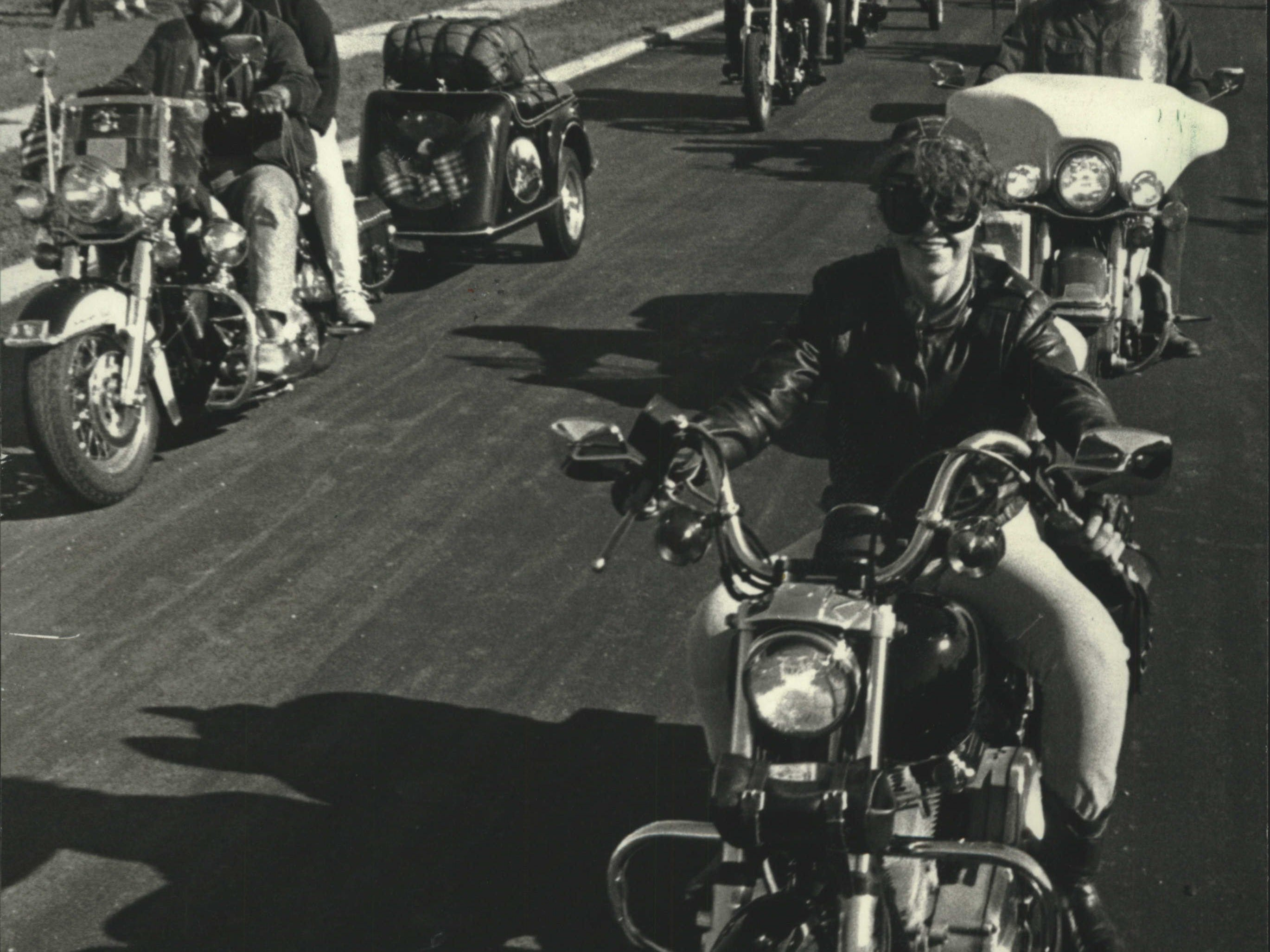 1990: Hundreds of Harley motorcycle riders, including top company officials, head off from the Harley-Davidson Transmission Plant, 11700 W. Capitol Drive, for a 900-mile ride to Sturgis, S.D., for the 50th Anniversary Motor Classic and National Harley Owners Group Rally.