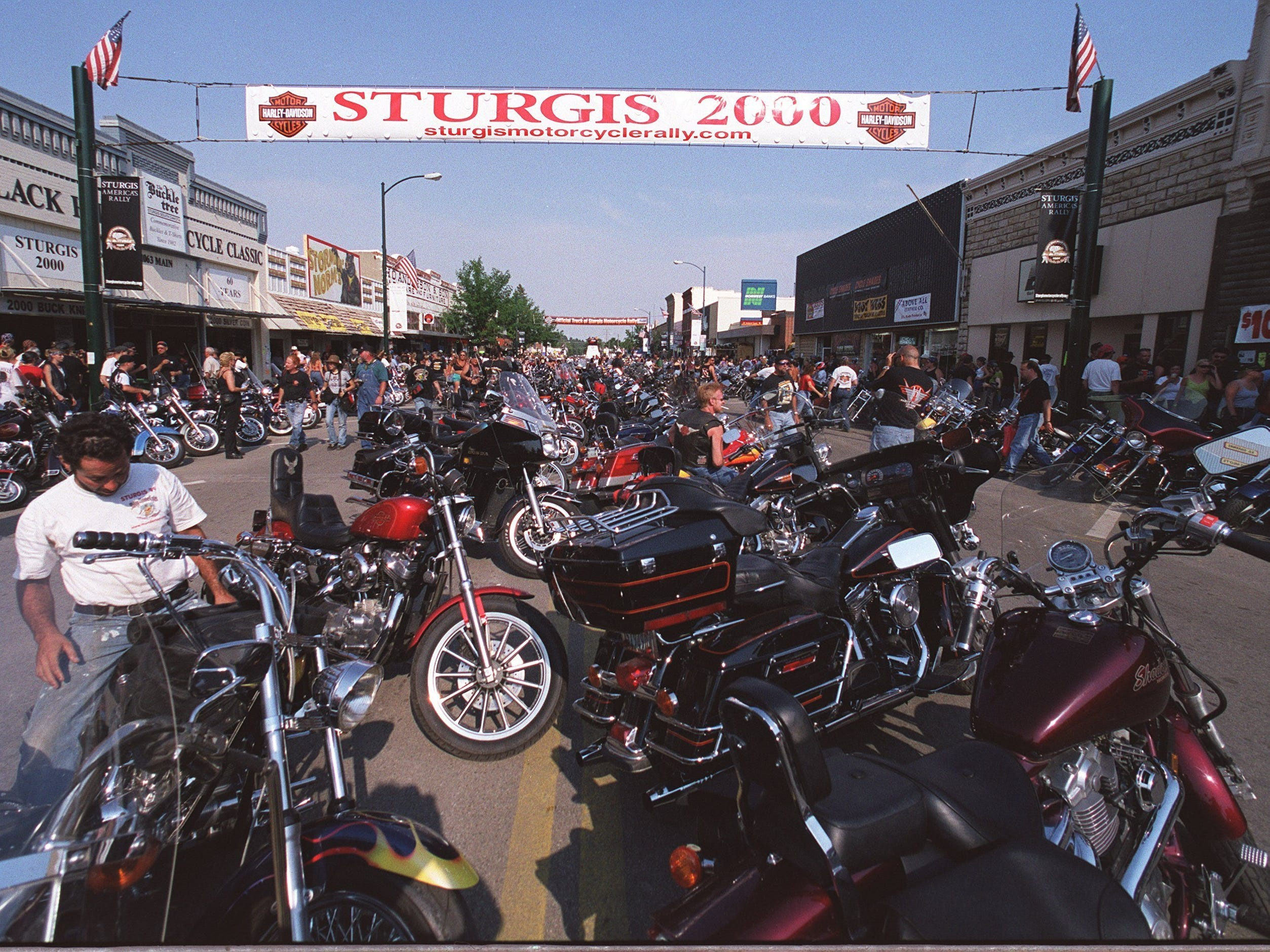 2001: Parking on the main drag is exclusively for motorcycles during bike week in Sturgis, S.D.