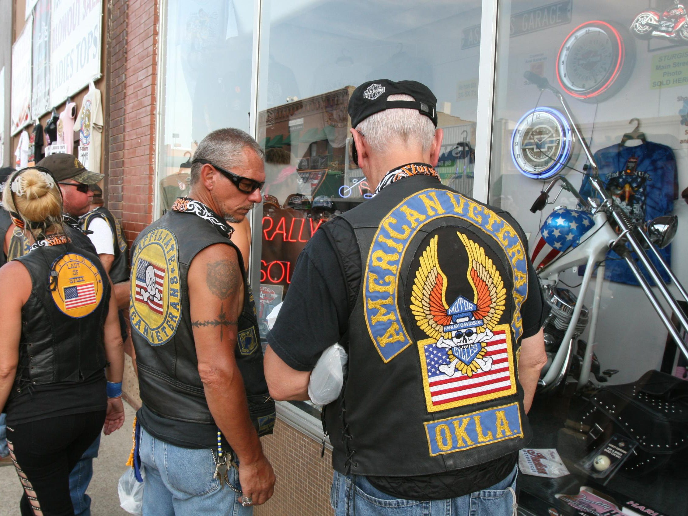 2012: A variety of groups, including large contingents of veterans, attend the annual bike rally at Sturgis, S.D.