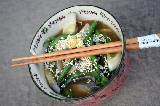Eggplant and Green Bean Agebitashi uses Japanese or Chinese eggplant in a simple preparation.