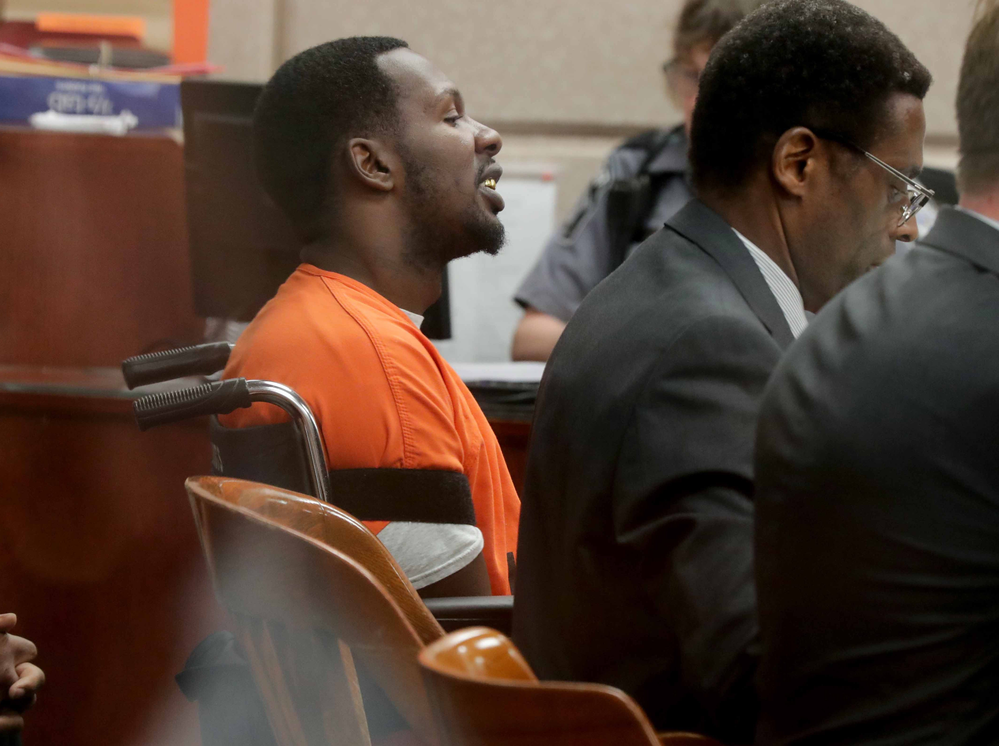 Jonathan Copeland Jr., 30, answers questions asked by the court commissioner.