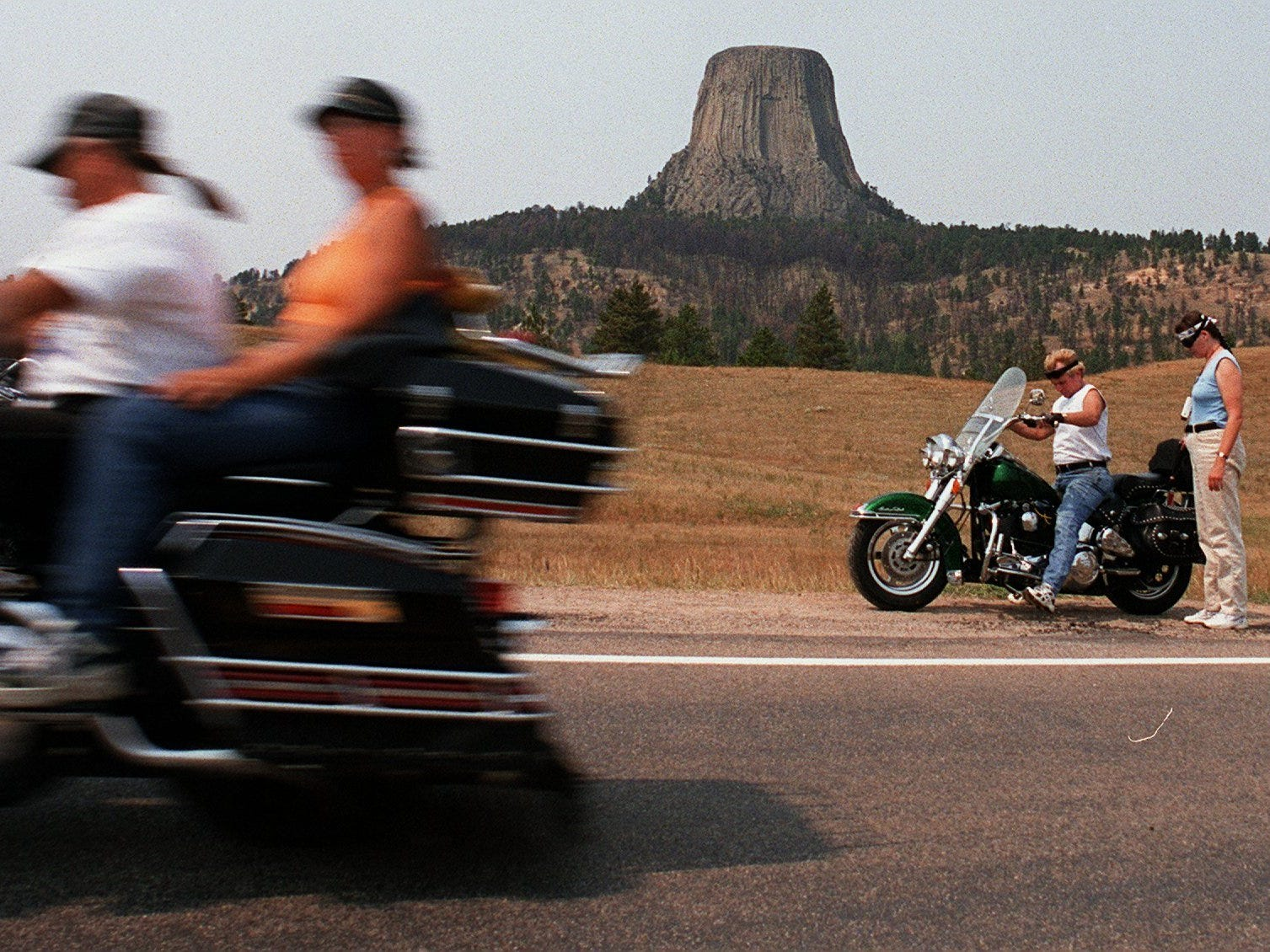 2001: Devils Tower National Monument,  tucked away in the northeastern corner of Wyoming, is a popular attraction for thousands of people on their way to Sturgis, S.D. The nearly vertical monolith rises 1,267 feet above the surrounding land and is a sacred site of worship for many American Indians. In 1906, President Theodore Roosevelt made it the nation's first national monument.