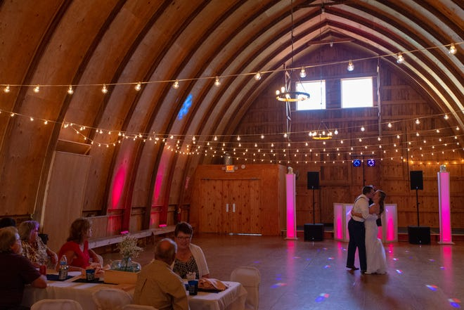 Newlyweds Kevin and Maggie Krug share their first dance at Eron's Event Barn in Stevens Point.