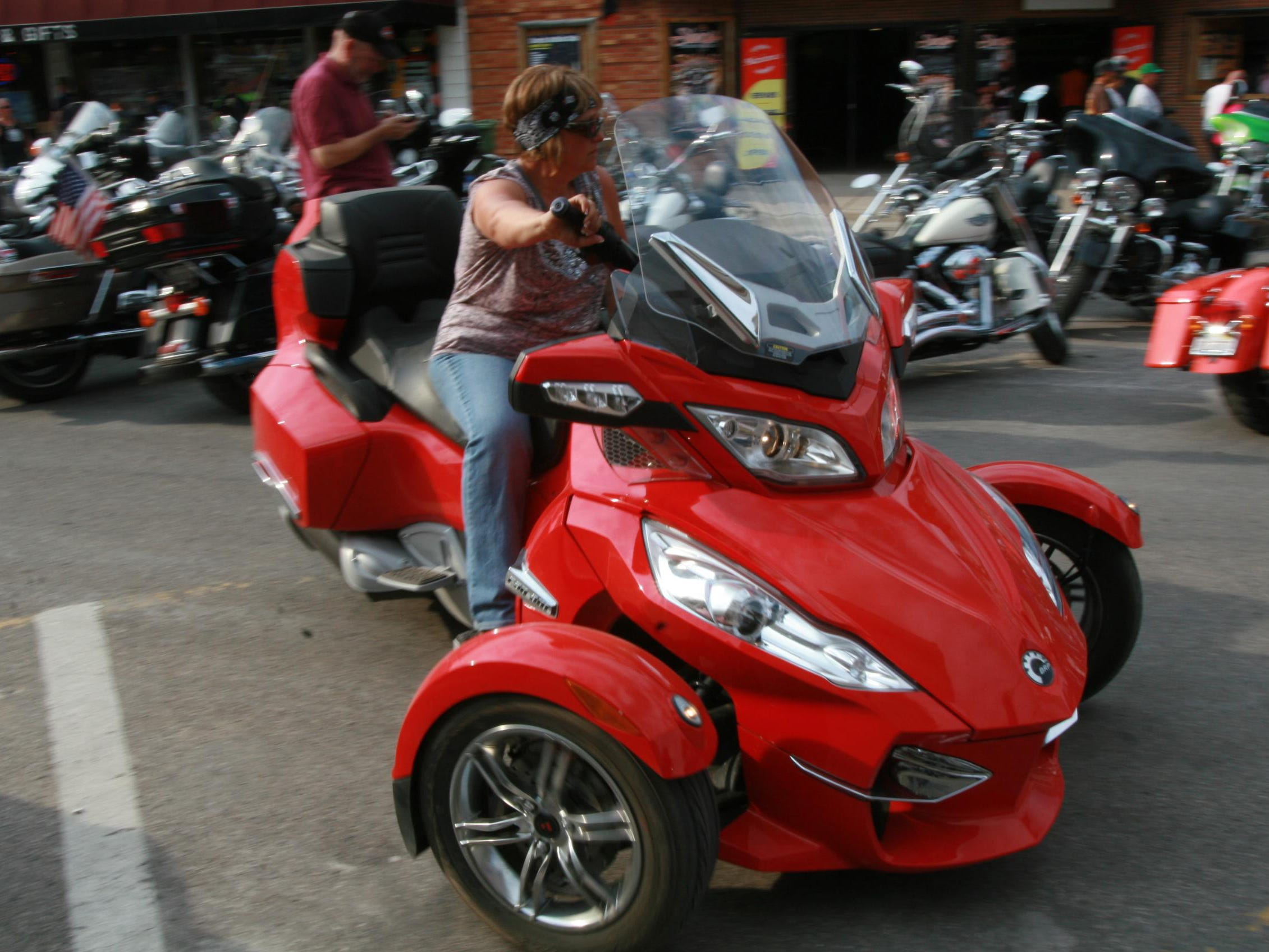 2012: A Can-Am Spyder RT draws attention on the streets of Sturgis.