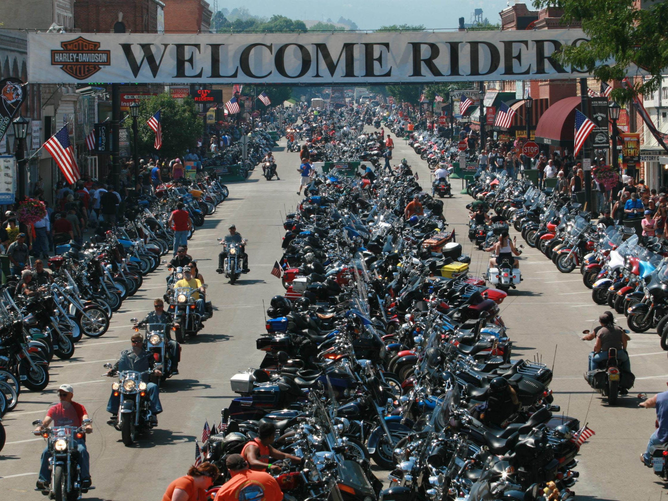 2012: Tens of thousands of motorcyclists arrive at the Sturgis Motorcycle Rally in Sturgis, S.D. They fill downtown Sturgis and spill over into campgrounds and surrounding communities for many miles, with around-the-clock partying.