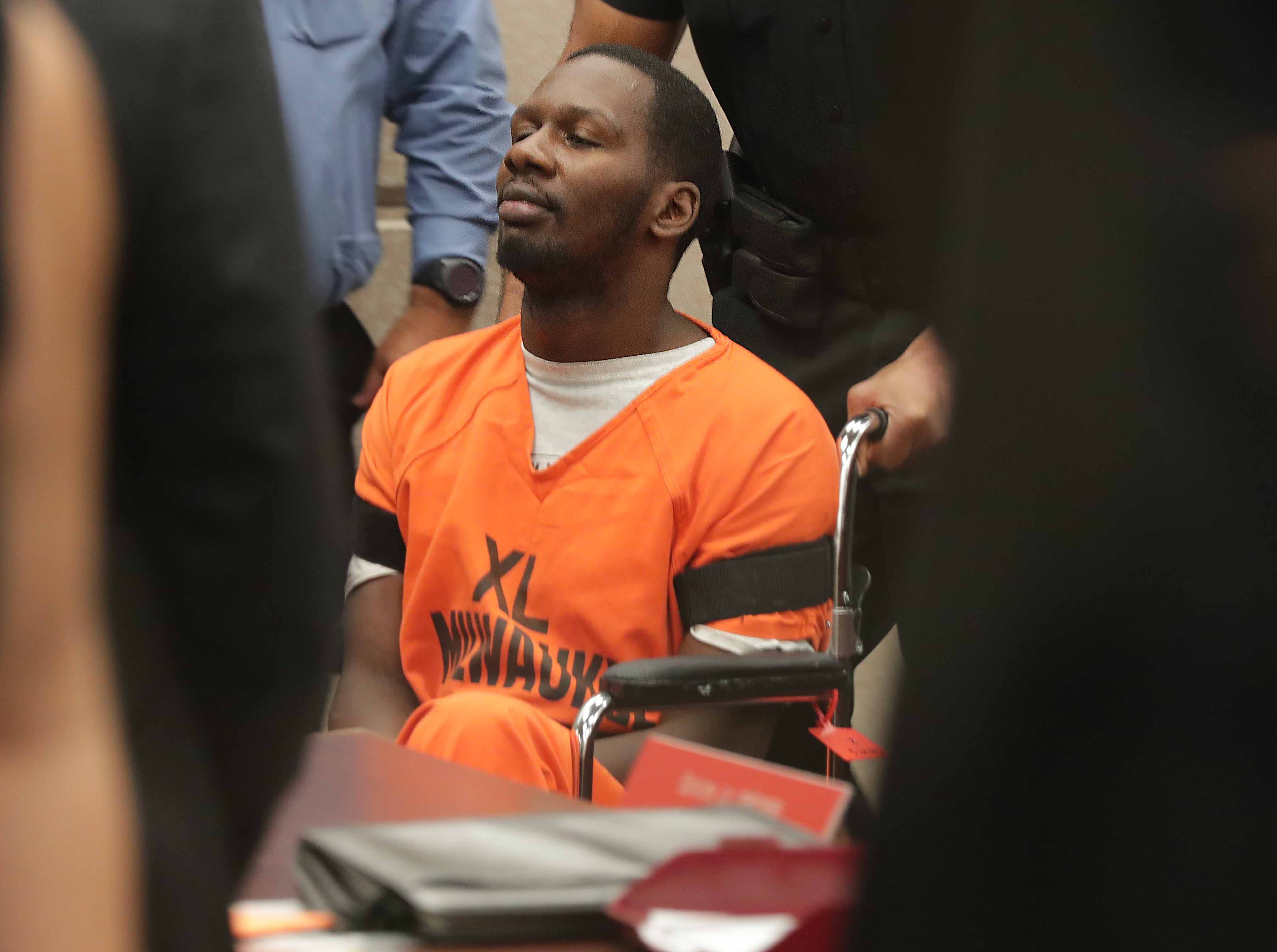 Jonathan Copeland Jr., 30, who is charged in the fatal shooting of Milwaukee Police Officer Michael Michalski, appears in court on Thursday, August 9, 2018.