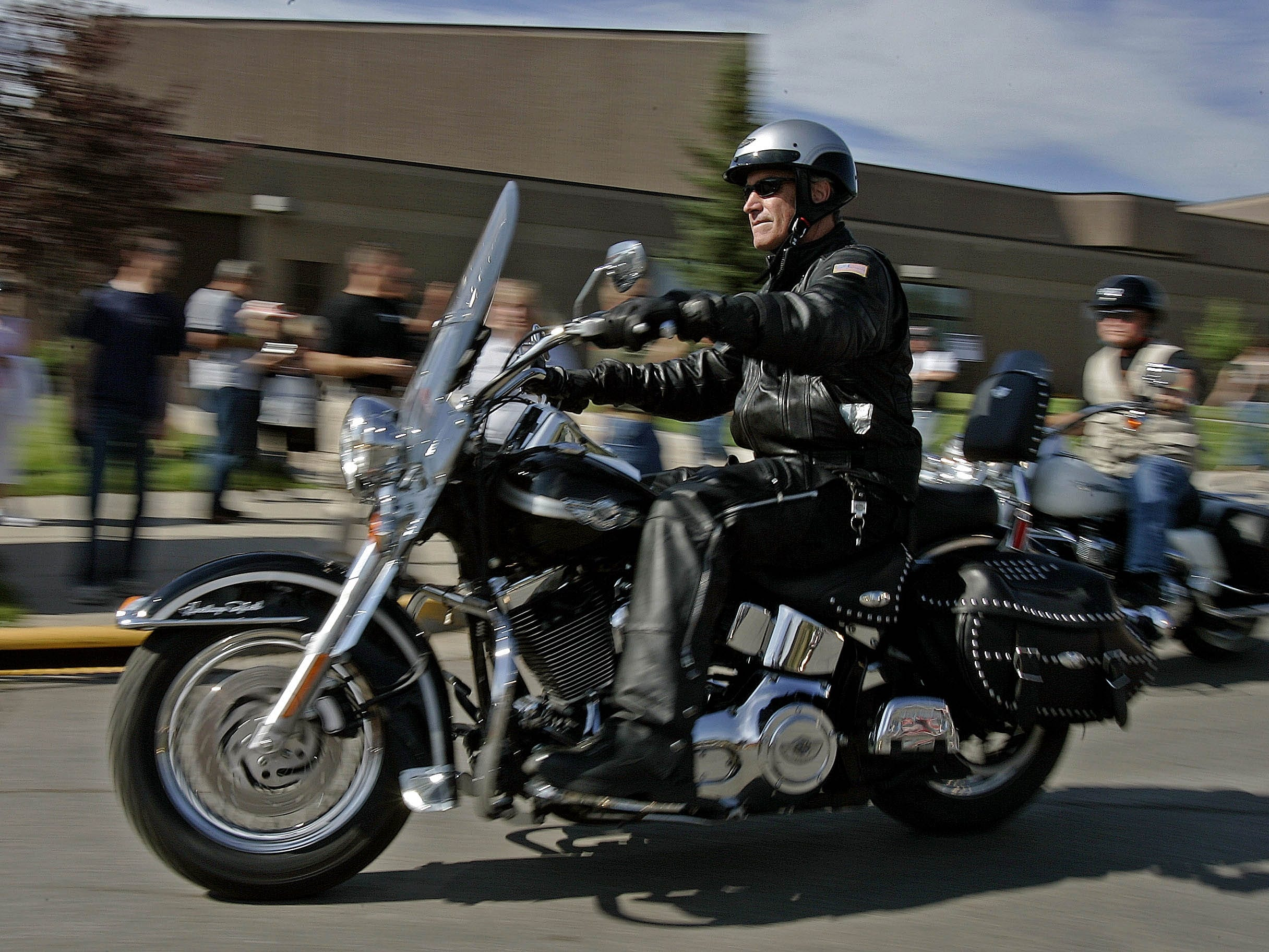 2006: U.S. Interior Secretary Dirk Kempthorne rides a motorcycle at the Sturgis Motorcycle Rally in Sturgis, S.D.