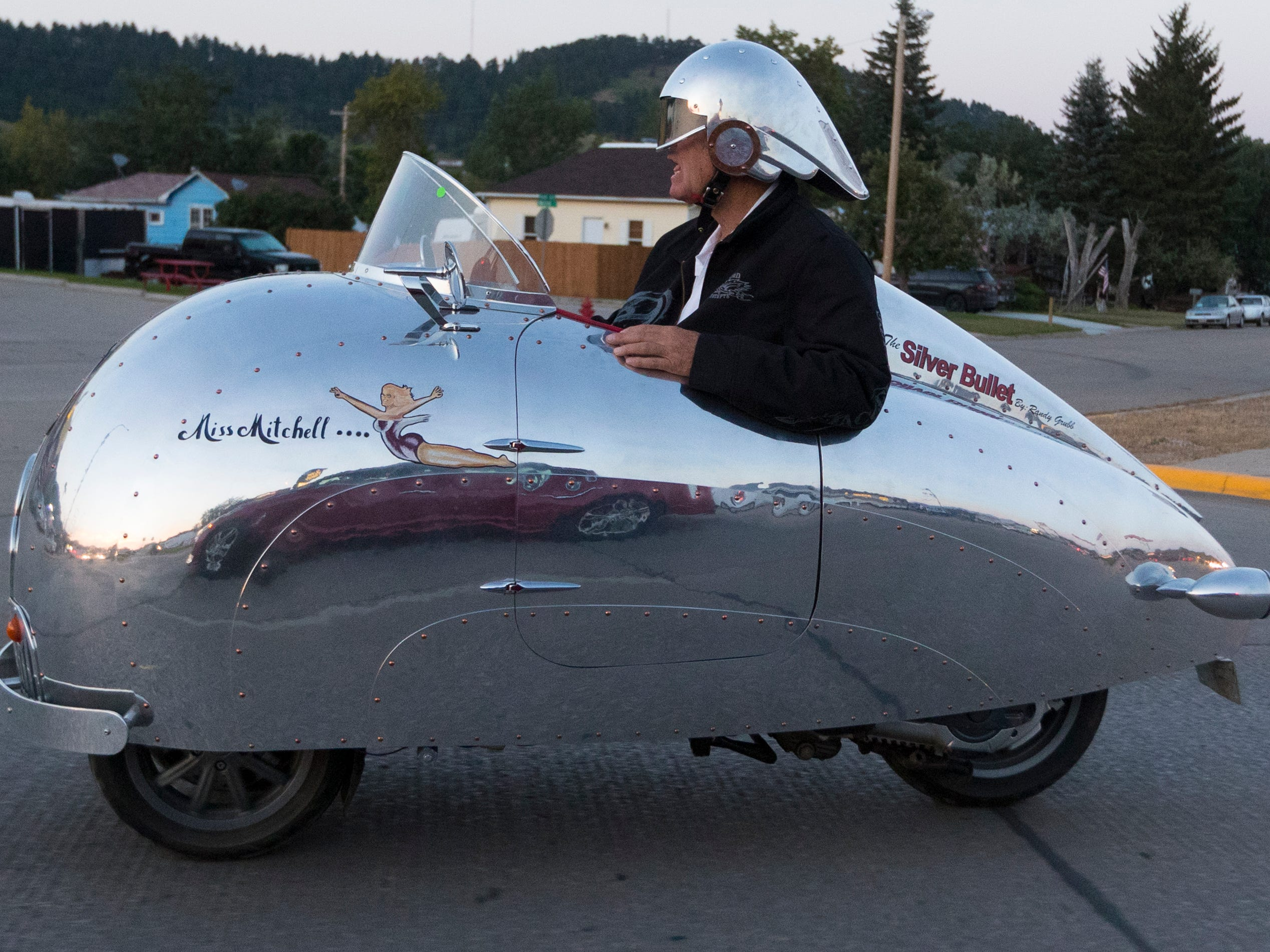 2018: A man rides a streamline motorcycle during the Sturgis Motorcycle Rally.