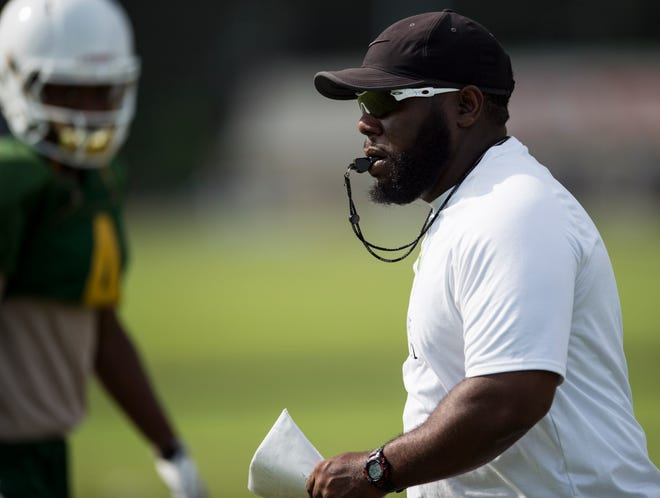 Head coach James Thompson during practice at Carver High School in Montgomery, Ala., on Thursday, Aug. 9, 2018.