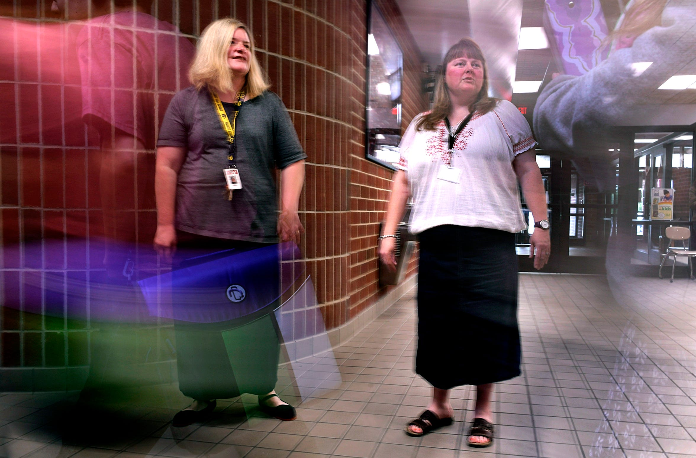 E. A. Cox Middle School guidance counselors Kim Johnson and Denise Owens stand in the hallway Aug. 7, 2018.  Maury County schools are among the first to adopt a new policy that requires school counselors to spend 80 percent of their time face to face with students.