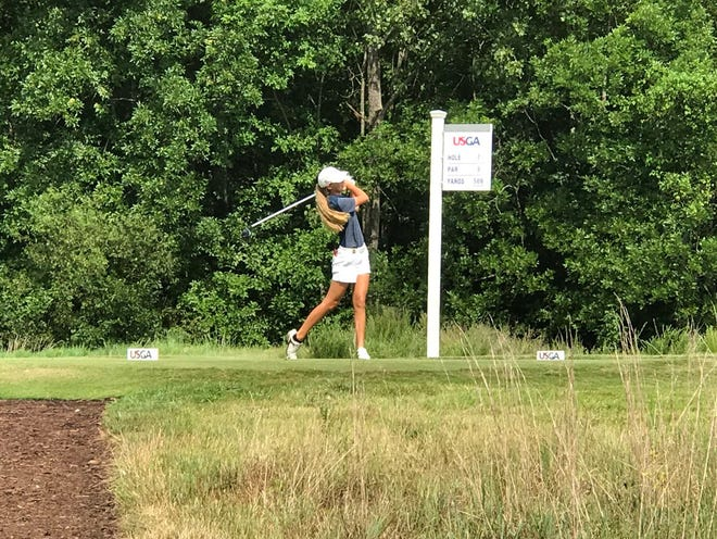 Ashley Gilliam of Manchester shoots on the 7th hole of the match play round in the U.S. Women's Amateur Golf Championship.