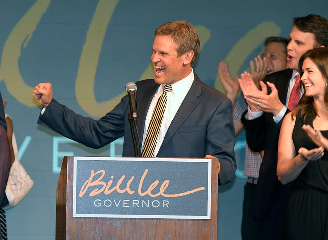 GOP candidate for Tennessee Gov. Bill Lee primary election night in Franklin, Tennessee,