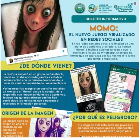 Poster warning of Momo app