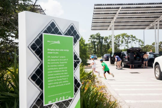 Since the Naples Zoo joined FPL's SolarNow program, more than 700 solar panels have been installed in the parking lot, as seen on Thursday, Aug. 9, 2018.
