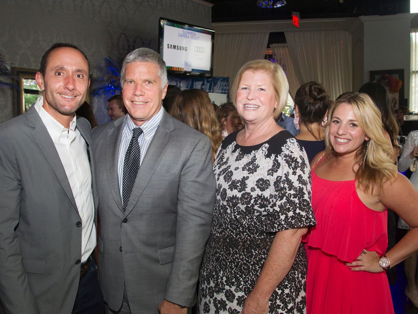 New York Red Bulls GM Marc de Grandpre, Peter Hughes, Helen Cunning, Jamie Sussman. Summer Samba Night benefitting Tackle Kids Cancer hosted by Cara Robles, Luis Robles (NY Red Bulls Goalkeeper), Jennifer Farber, and Dr. Michael Farber at Son Cubano in West New York. 08/08/2018