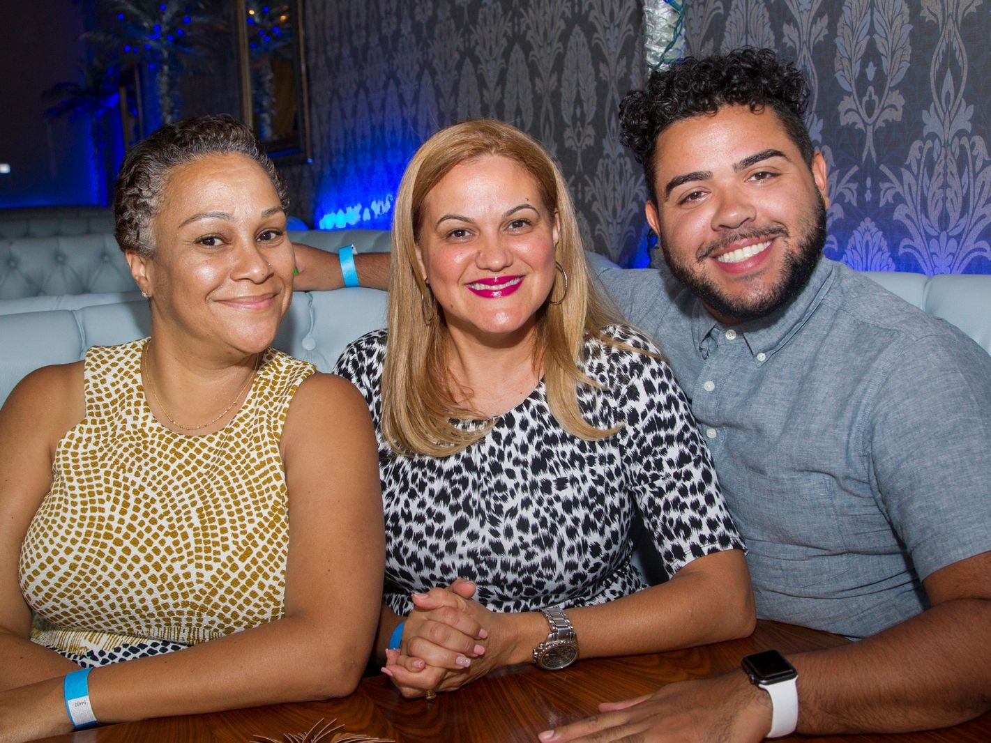 Aviva Woog, Damaris Camilo, Joel Martinez. Summer Samba Night benefitting Tackle Kids Cancer hosted by Cara Robles, Luis Robles (NY Red Bulls Goalkeeper), Jennifer Farber, and Dr. Michael Farber at Son Cubano in West New York. 08/08/2018