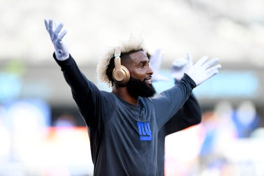 New York Giants wide receiver Odell Beckham Jr. on the field during warm-ups. The New York Giants face the Cleveland Browns in a preseason game in East Rutherford, NJ on Thursday, August 9, 2018.