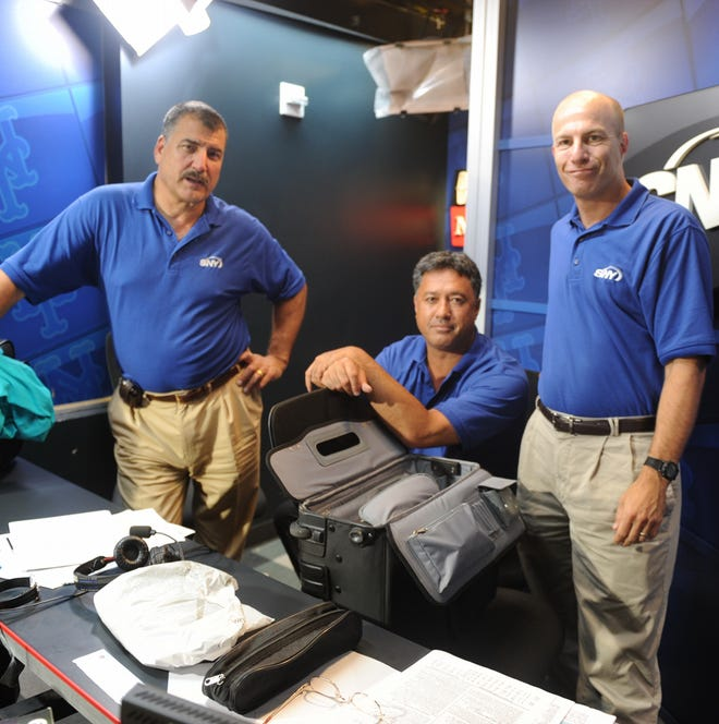 SNY broadcasters Keith Hernandez,  Ron Darling and Gary Cohen