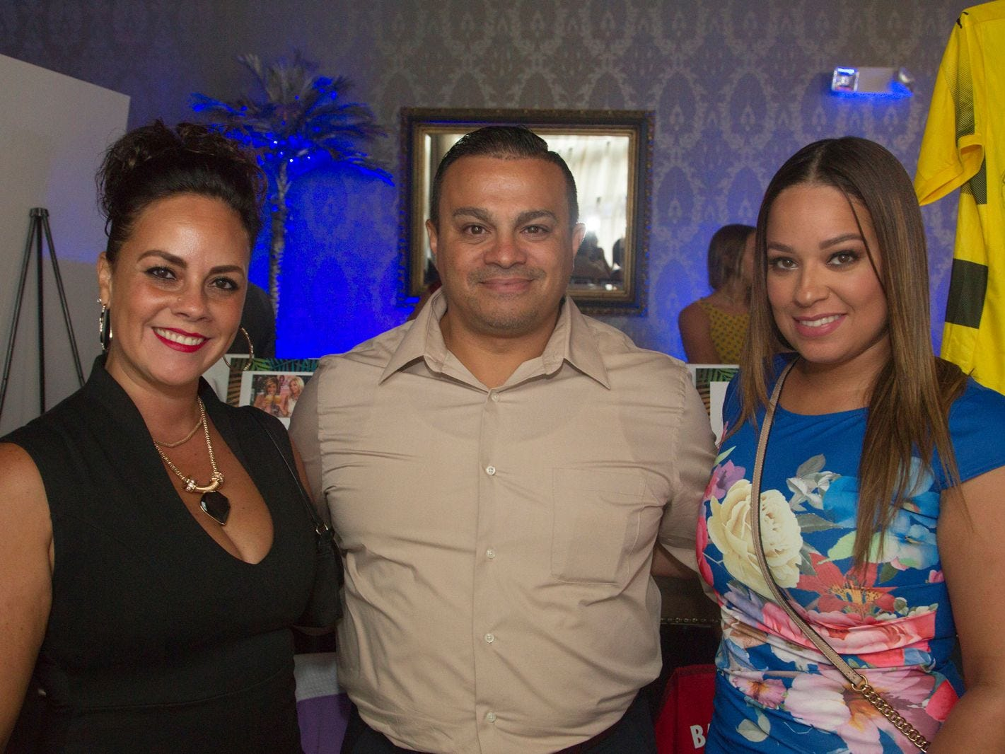 Millie Vasquez, Oscar Morales, Maelene Mendez. Summer Samba Night benefitting Tackle Kids Cancer hosted by Cara Robles, Luis Robles (NY Red Bulls Goalkeeper), Jennifer Farber, and Dr. Michael Farber at Son Cubano in West New York. 08/08/2018