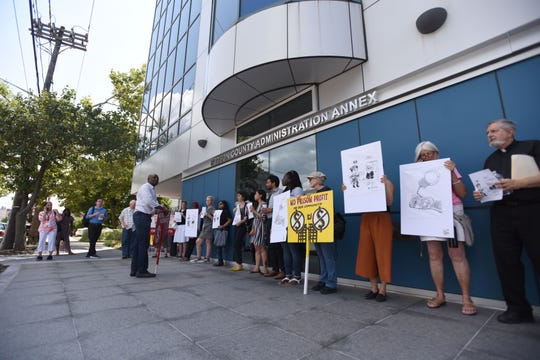 Several Clergy rally in front of County building  to ask the freeholders to reconsider its decision to renew the ICE contract that calls for the housing of immigration detainees at the county jail