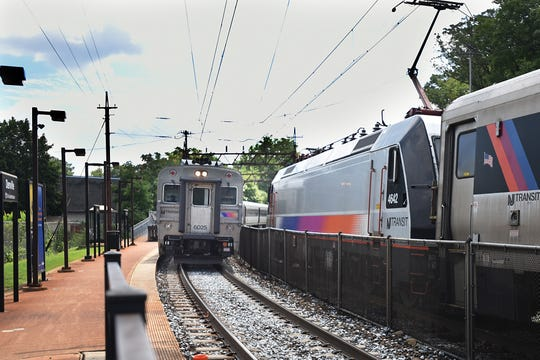 A train arrives at Denville Station on Thursday August 9, 2018.